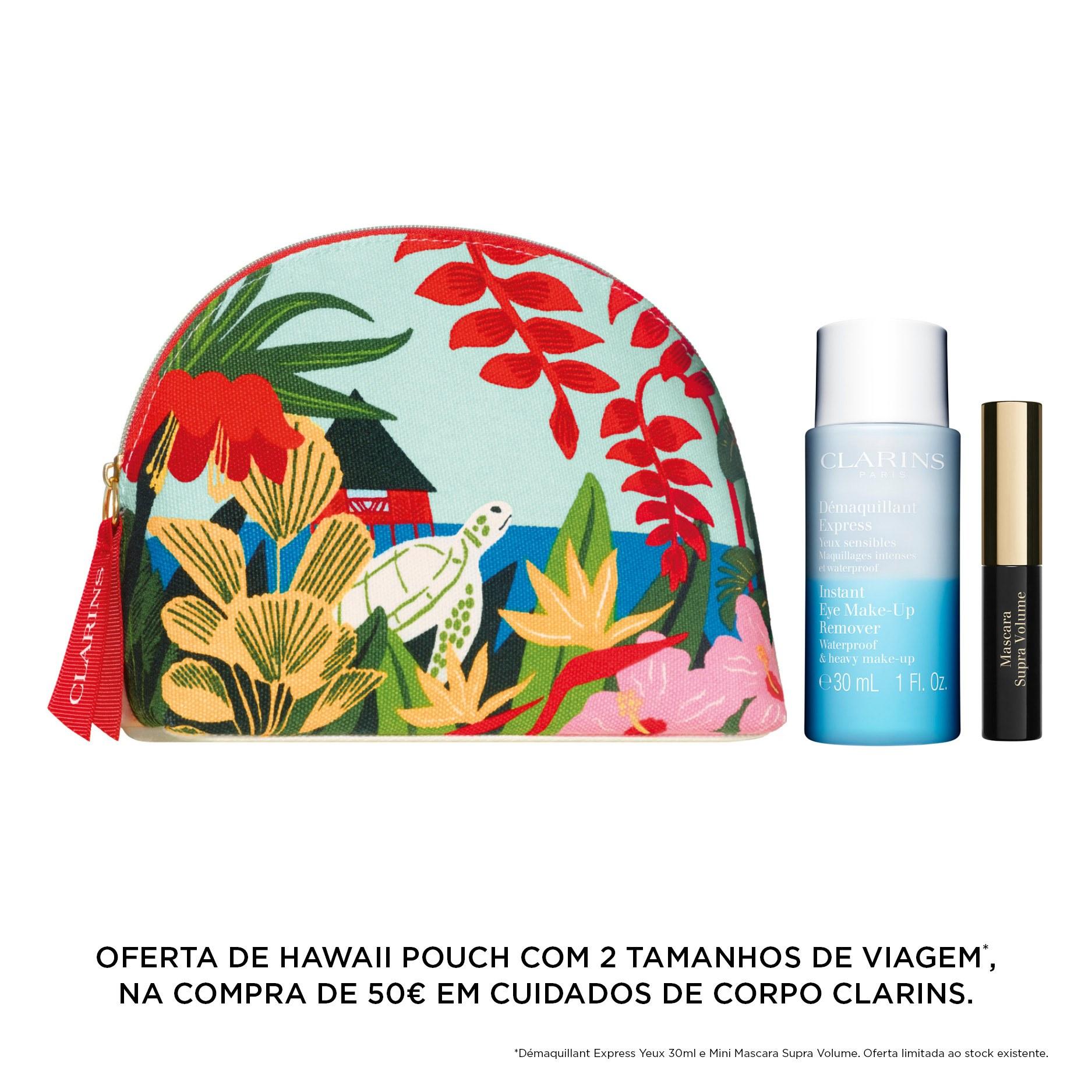 Oferta Clarins Hawaii pouch na compra de 50€ em cuidados de corpo da marca.